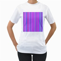 Blue And Pink Stripes Women s T Shirt (white)