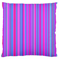 Blue And Pink Stripes Large Flano Cushion Case (two Sides) by Nexatart