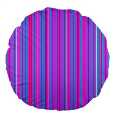 Blue And Pink Stripes Large 18  Premium Flano Round Cushions by Nexatart