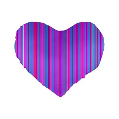 Blue And Pink Stripes Standard 16  Premium Flano Heart Shape Cushions
