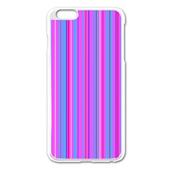 Blue And Pink Stripes Apple Iphone 6 Plus/6s Plus Enamel White Case by Nexatart