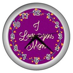 Happy Mothers Day Celebration I Love You Mom Wall Clocks (silver)  by Nexatart