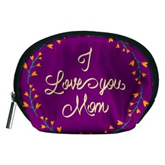 Happy Mothers Day Celebration I Love You Mom Accessory Pouches (medium)