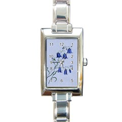 Floral Blue Bluebell Flowers Watercolor Painting Rectangle Italian Charm Watch