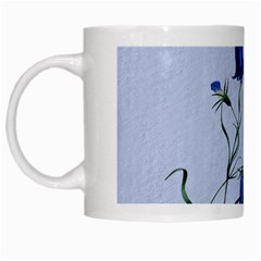 Floral Blue Bluebell Flowers Watercolor Painting White Mugs