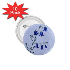 Floral Blue Bluebell Flowers Watercolor Painting 1 75  Buttons (10 Pack)