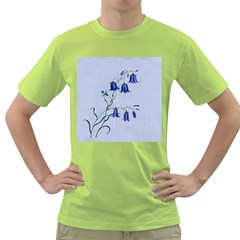 Floral Blue Bluebell Flowers Watercolor Painting Green T Shirt
