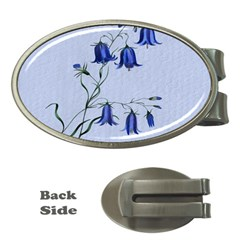 Floral Blue Bluebell Flowers Watercolor Painting Money Clips (oval)