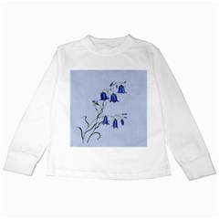 Floral Blue Bluebell Flowers Watercolor Painting Kids Long Sleeve T Shirts