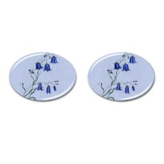 Floral Blue Bluebell Flowers Watercolor Painting Cufflinks (oval) by Nexatart