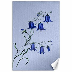 Floral Blue Bluebell Flowers Watercolor Painting Canvas 12  X 18   by Nexatart