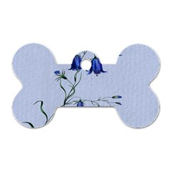 Floral Blue Bluebell Flowers Watercolor Painting Dog Tag Bone (two Sides) by Nexatart