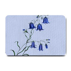 Floral Blue Bluebell Flowers Watercolor Painting Small Doormat