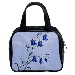 Floral Blue Bluebell Flowers Watercolor Painting Classic Handbags (2 Sides) by Nexatart