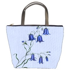 Floral Blue Bluebell Flowers Watercolor Painting Bucket Bags