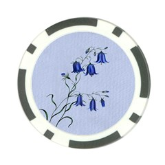 Floral Blue Bluebell Flowers Watercolor Painting Poker Chip Card Guard (10 Pack)