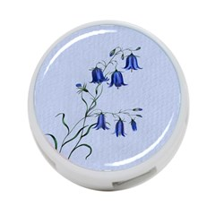 Floral Blue Bluebell Flowers Watercolor Painting 4 Port Usb Hub (two Sides)