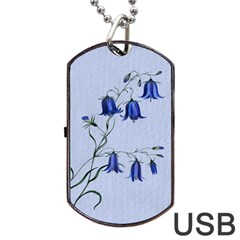 Floral Blue Bluebell Flowers Watercolor Painting Dog Tag Usb Flash (one Side) by Nexatart