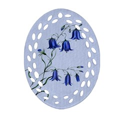 Floral Blue Bluebell Flowers Watercolor Painting Oval Filigree Ornament (two Sides) by Nexatart