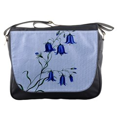 Floral Blue Bluebell Flowers Watercolor Painting Messenger Bags by Nexatart