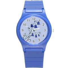 Floral Blue Bluebell Flowers Watercolor Painting Round Plastic Sport Watch (s) by Nexatart