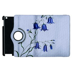 Floral Blue Bluebell Flowers Watercolor Painting Apple Ipad 2 Flip 360 Case by Nexatart