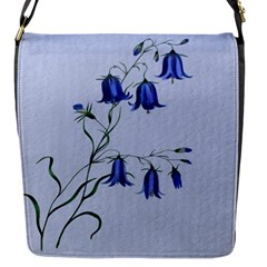 Floral Blue Bluebell Flowers Watercolor Painting Flap Messenger Bag (s) by Nexatart