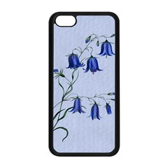 Floral Blue Bluebell Flowers Watercolor Painting Apple Iphone 5c Seamless Case (black)