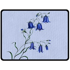 Floral Blue Bluebell Flowers Watercolor Painting Double Sided Fleece Blanket (large)  by Nexatart