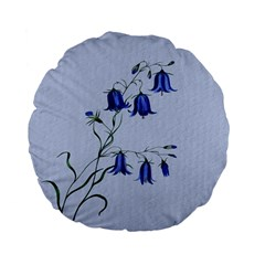 Floral Blue Bluebell Flowers Watercolor Painting Standard 15  Premium Flano Round Cushions