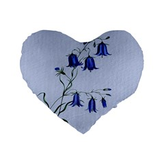 Floral Blue Bluebell Flowers Watercolor Painting Standard 16  Premium Flano Heart Shape Cushions by Nexatart