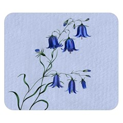 Floral Blue Bluebell Flowers Watercolor Painting Double Sided Flano Blanket (small)