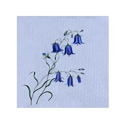 Floral Blue Bluebell Flowers Watercolor Painting Small Satin Scarf (square) by Nexatart