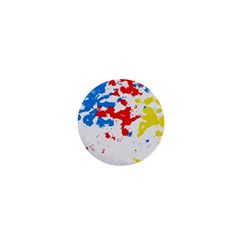 Paint Splatter Digitally Created Blue Red And Yellow Splattering Of Paint On A White Background 1  Mini Magnets by Nexatart