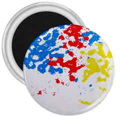 Paint Splatter Digitally Created Blue Red And Yellow Splattering Of Paint On A White Background 3  Magnets by Nexatart