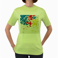 Paint Splatter Digitally Created Blue Red And Yellow Splattering Of Paint On A White Background Women s Green T Shirt