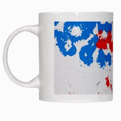 Paint Splatter Digitally Created Blue Red And Yellow Splattering Of Paint On A White Background White Mugs by Nexatart