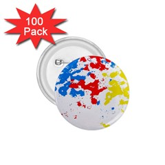 Paint Splatter Digitally Created Blue Red And Yellow Splattering Of Paint On A White Background 1 75  Buttons (100 Pack)  by Nexatart