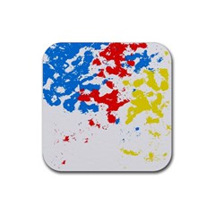 Paint Splatter Digitally Created Blue Red And Yellow Splattering Of Paint On A White Background Rubber Square Coaster (4 Pack)  by Nexatart