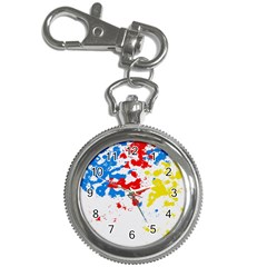 Paint Splatter Digitally Created Blue Red And Yellow Splattering Of Paint On A White Background Key Chain Watches by Nexatart