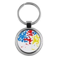 Paint Splatter Digitally Created Blue Red And Yellow Splattering Of Paint On A White Background Key Chains (round)