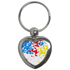 Paint Splatter Digitally Created Blue Red And Yellow Splattering Of Paint On A White Background Key Chains (heart)  by Nexatart