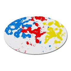 Paint Splatter Digitally Created Blue Red And Yellow Splattering Of Paint On A White Background Oval Magnet by Nexatart