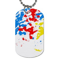 Paint Splatter Digitally Created Blue Red And Yellow Splattering Of Paint On A White Background Dog Tag (one Side)