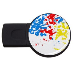 Paint Splatter Digitally Created Blue Red And Yellow Splattering Of Paint On A White Background Usb Flash Drive Round (2 Gb) by Nexatart