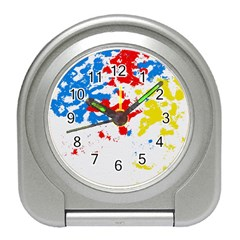 Paint Splatter Digitally Created Blue Red And Yellow Splattering Of Paint On A White Background Travel Alarm Clocks by Nexatart