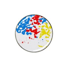 Paint Splatter Digitally Created Blue Red And Yellow Splattering Of Paint On A White Background Hat Clip Ball Marker (10 pack)