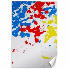 Paint Splatter Digitally Created Blue Red And Yellow Splattering Of Paint On A White Background Canvas 12  X 18
