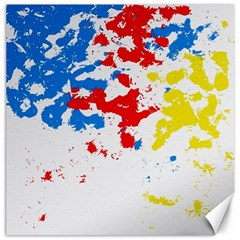 Paint Splatter Digitally Created Blue Red And Yellow Splattering Of Paint On A White Background Canvas 20  X 20