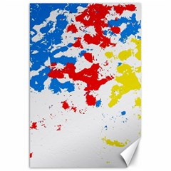 Paint Splatter Digitally Created Blue Red And Yellow Splattering Of Paint On A White Background Canvas 20  X 30